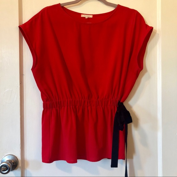 Nordstrom Tops - Pleione Red Short Dolman Sleeve Gathered Waist Top